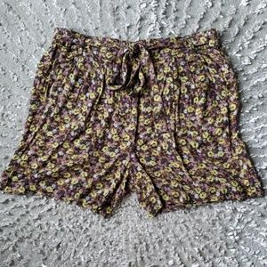 Free People Floral Tie Waist Shorts